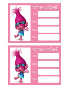 Dreamworks Trolls Birthday Invitations