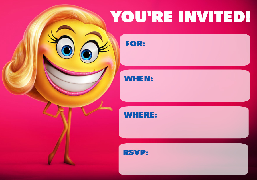 Monster image throughout free printable emoji invitations