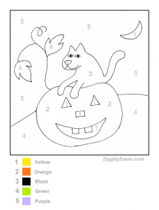 Free Printable Halloween Color by Number Pages