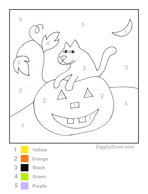 19 eerie halloween color by number printable pages for free kitty