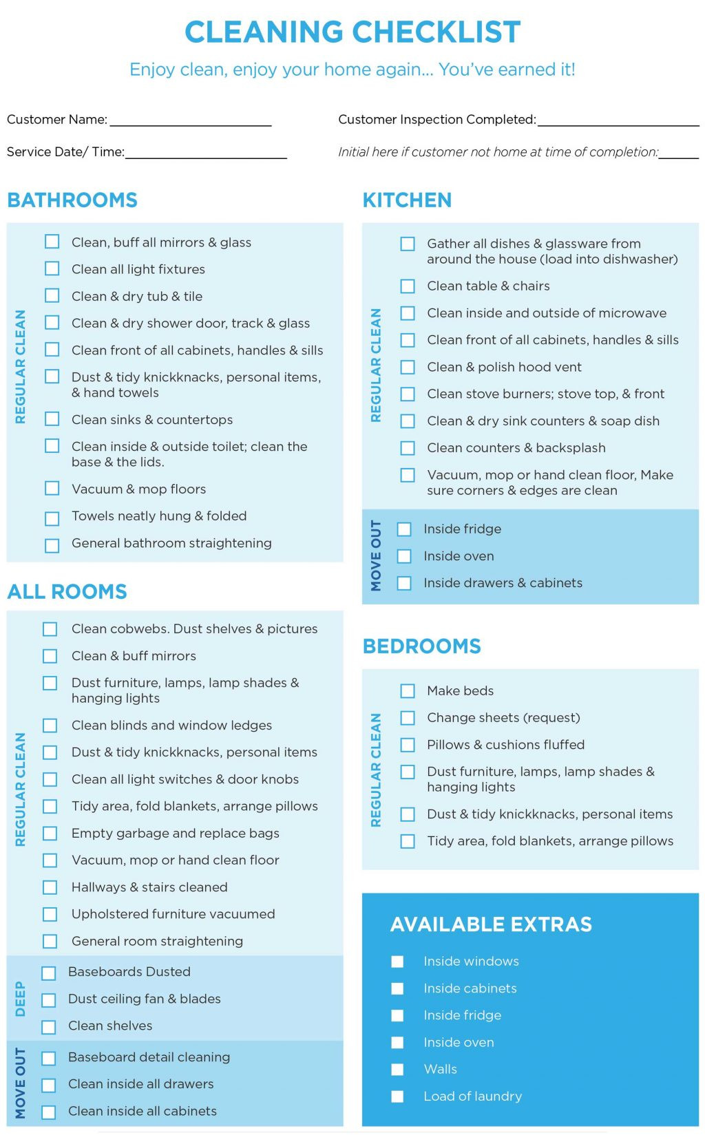 Deep Home Cleaning Schedule