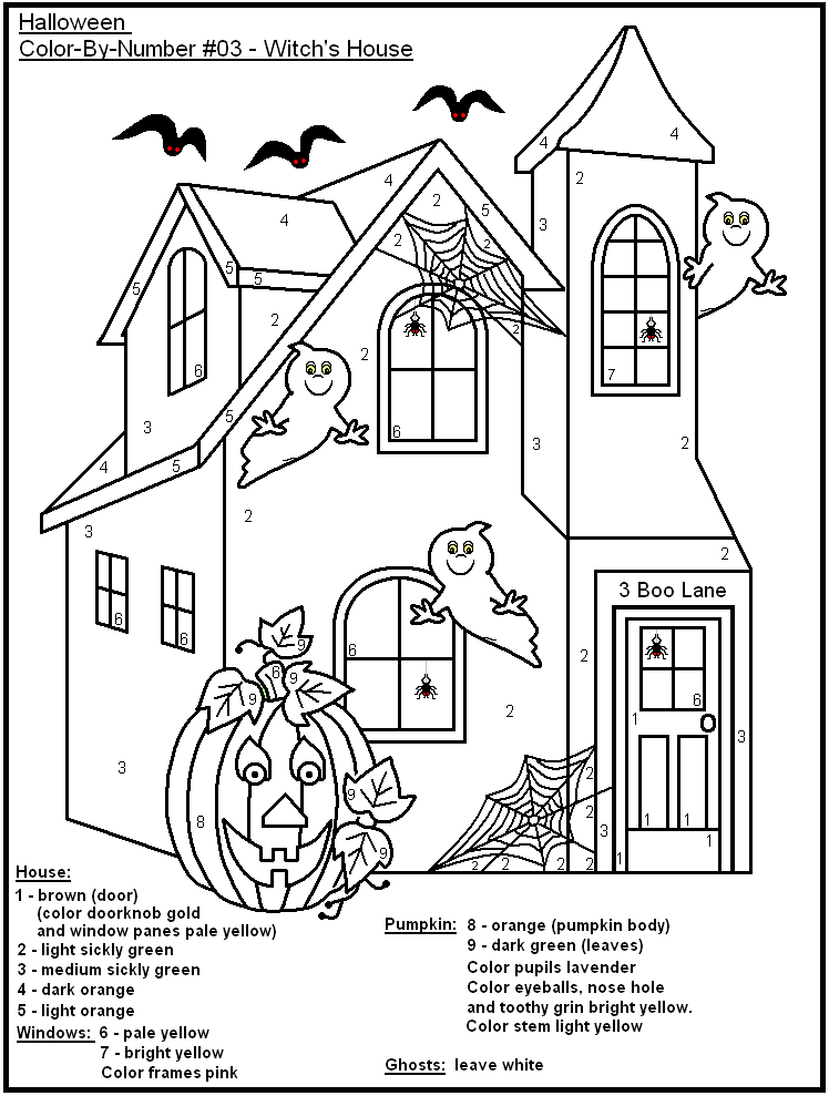 19 eerie halloween color by number printable pages for free. Black Bedroom Furniture Sets. Home Design Ideas