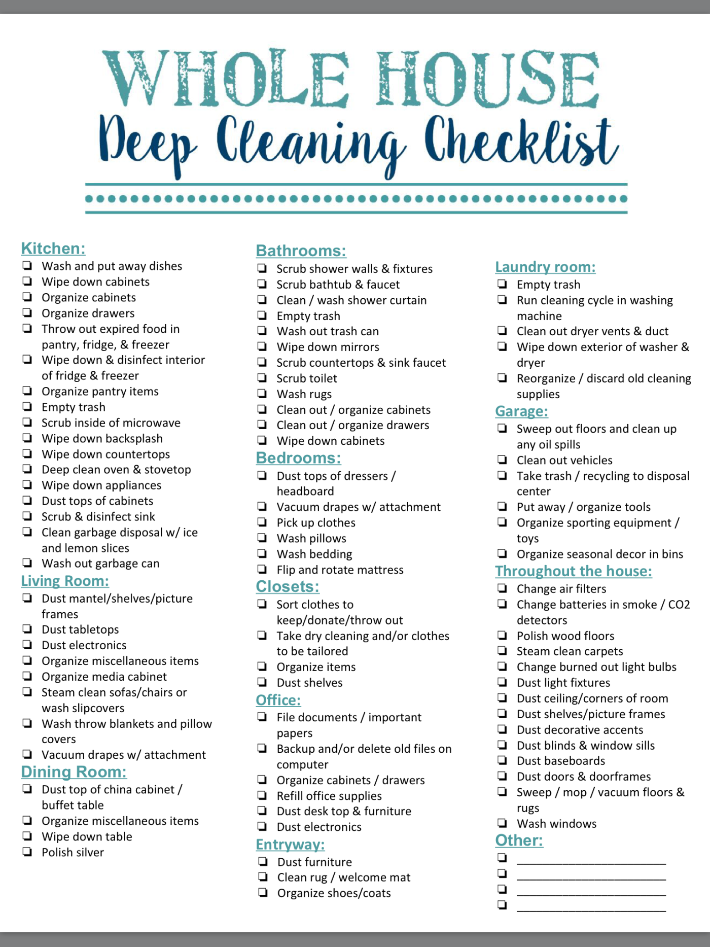 It's just a picture of Witty Professional House Cleaning Checklist Printable