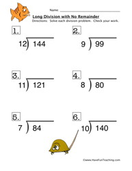 Long Division Flash Cards Printable