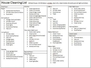 Monthly House Cleaning Checklist