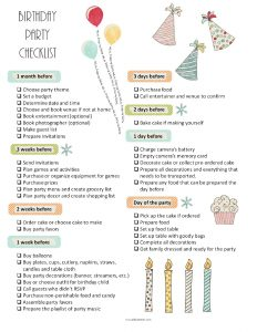 Planning a Birthday Party Checklist Template