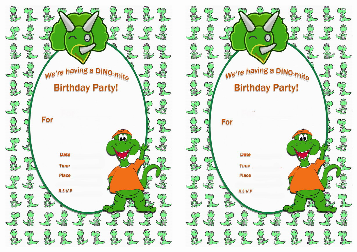 It is a graphic of Tactueux Printable Dinosaur Birthday Invitations