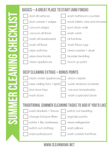 Summer House Cleaning Checklist