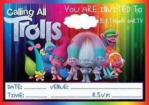 Trolls Birthday Invitations Blank