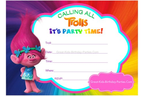 picture regarding Trolls Printable Invitations named 10 Humorous Trolls Birthday Invites