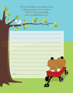 African American Twin Baby Shower Invitations