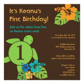Baby First Birthday Party Free Luau Invitations to Print