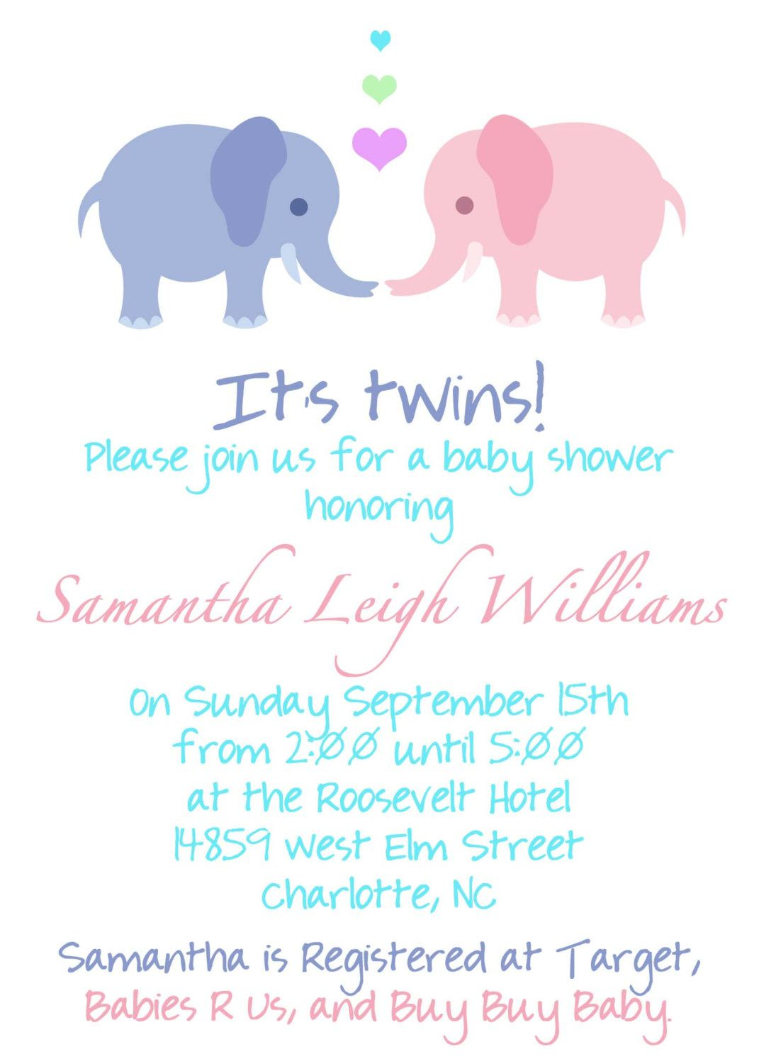 44 Twin Baby Shower Invitations For You Kitty Baby Love