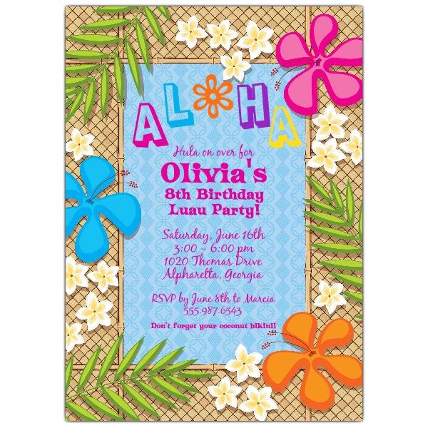 picture relating to Printable Luau Invitations known as 20 Creative Luau Birthday Invites