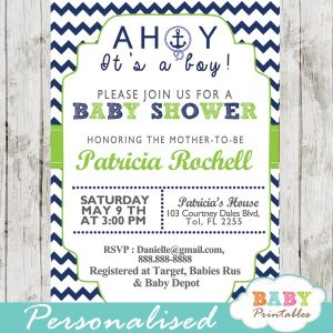 Blue And Green Nautical Baby Shower Invitations