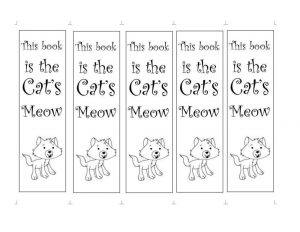 Cat Bookmarks to Color