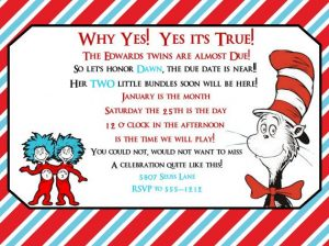 Cat in the Hat Twin Baby Shower Invitations