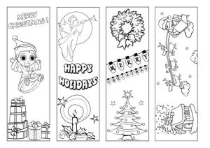 Christmas Bookmarks to Color
