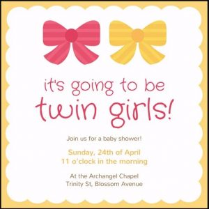Cute Twin Baby Shower Invitations
