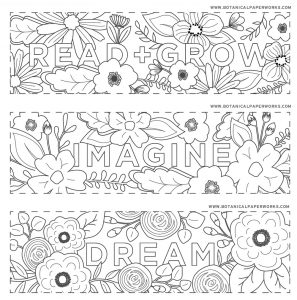 Flower Bookmarks to Color
