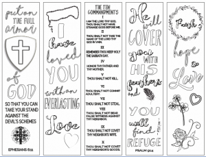 Free Printable Bible Verse Bookmarks to Color
