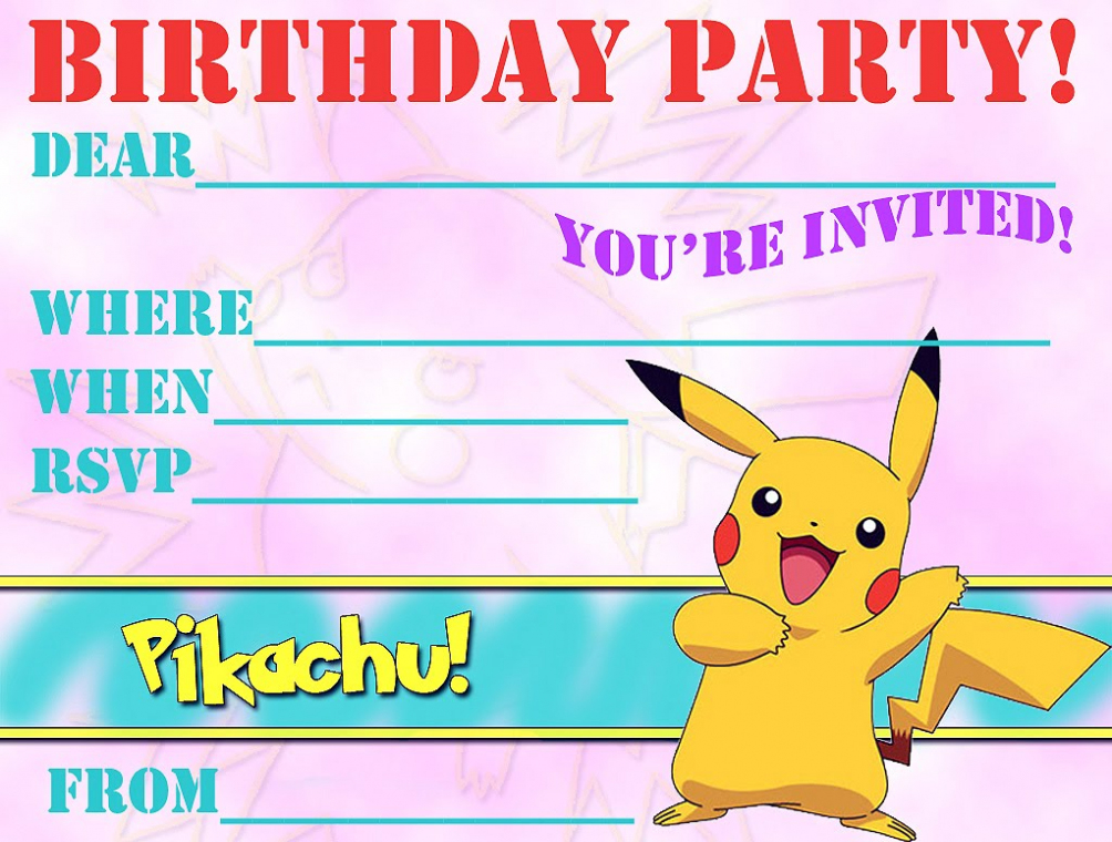 photograph about Free Printable Pokemon Invitations identify 12 Magnificent Pokemon Birthday Invites