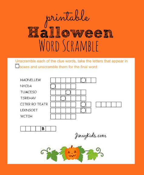 Halloween Word Scramble Easy
