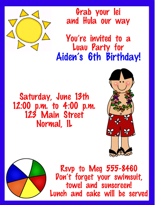 20 artistic luau birthday invitations kitty baby love hawaiian luau birthday party invitations stopboris Choice Image