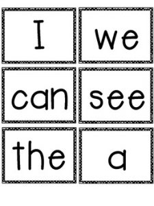 Kindergarten Sight Words Flash Cards Printable