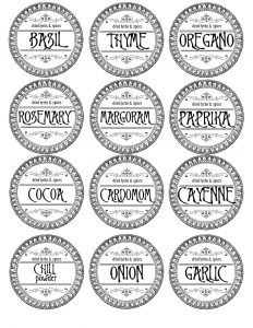 Labels for Spice Jars Make Your Own