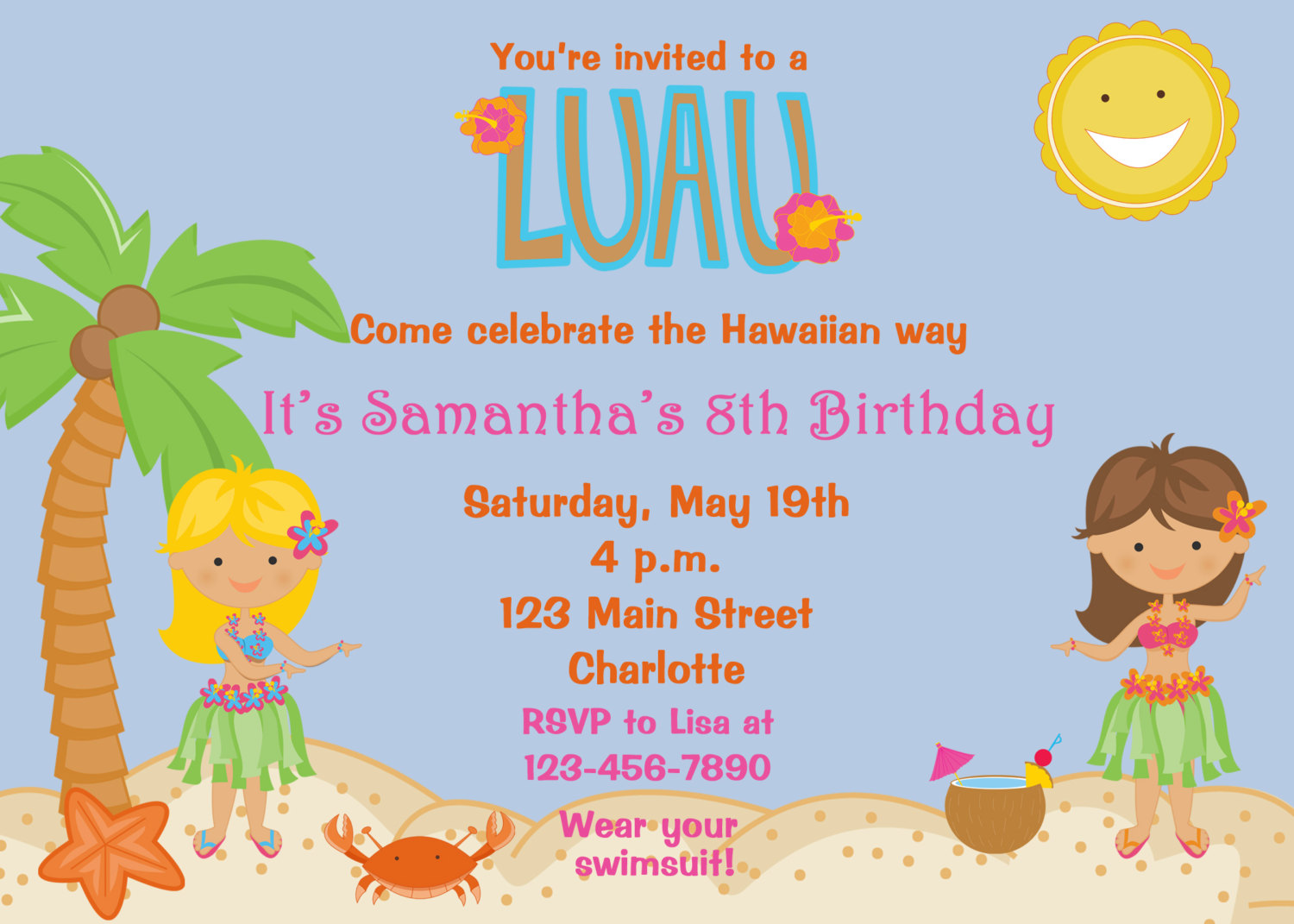 20 Artistic Luau Birthday Invitations Kitty Baby Love