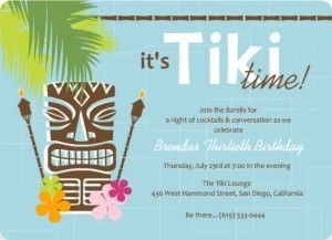 Luau Birthday Party Invitations for Adults