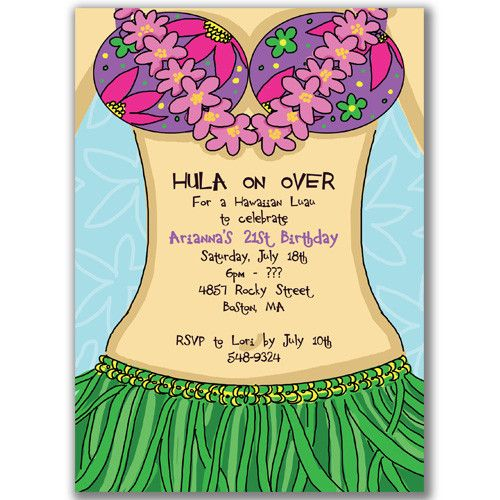 Luau Themed Birthday Invitations