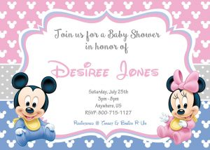 Minnie and Mickey Mouse Twin Baby Shower Invitations