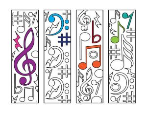 Music Bookmarks to Color