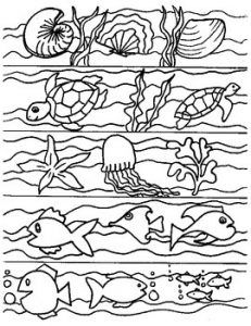 Ocean Bookmarks to Color