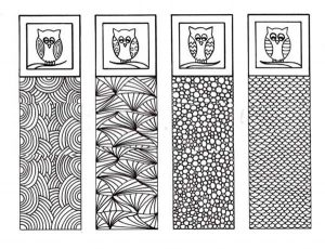 Owl Bookmarks to Color