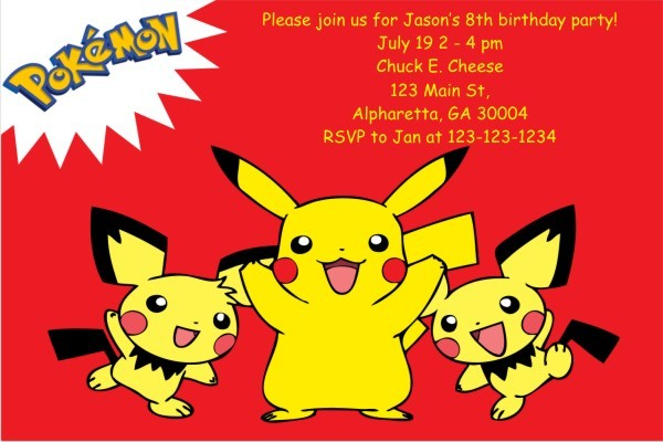 12 Superb Pokemon Birthday Invitations Kittybabylove Com