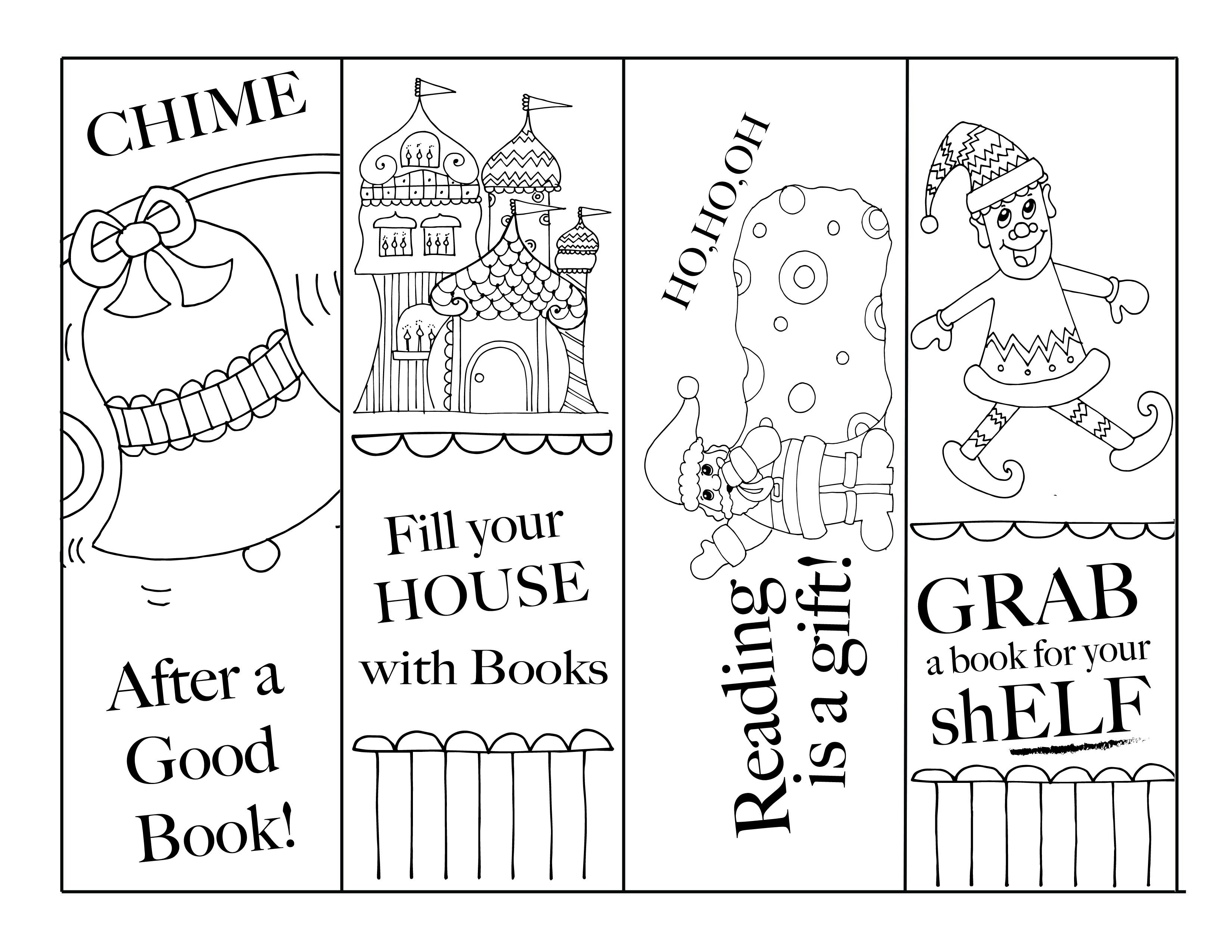 This is a photo of Massif Free Printable Christmas Bookmarks to Color