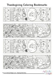 Printable Thanksgiving Bookmarks to Color