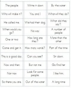 Sight Word Phrases Flash Cards