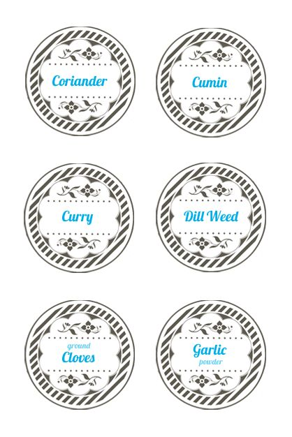 Round spice labels template.