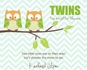 Twin Baby Shower Invitations Owls