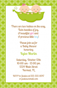 Twin Baby Shower Invitations Two Peas in a Pod