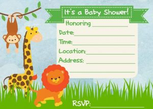 Twins Baby Shower Jungle Themed Invitation Templates