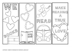 Valentine Bookmarks to Print and Color
