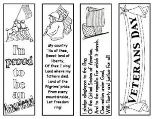 Veterans Day Bookmarks to Color