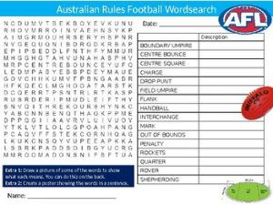 Australian Rules Football Word Search