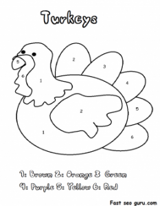 Color by Number Turkey Coloring Sheet