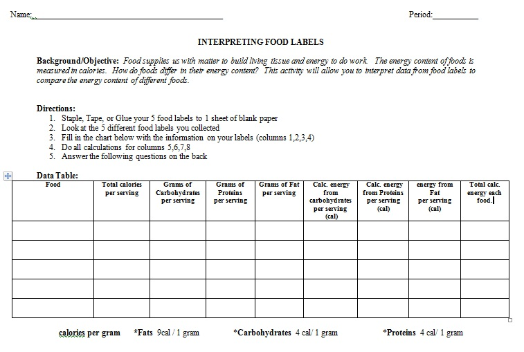 18 Informative Food Label Worksheets | KittyBabyLove.com